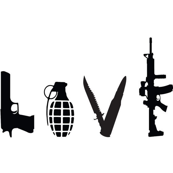 Love Weapons Gun Vinyl Decal Gun Decal for Cars by Tetreaunomics, $6.00
