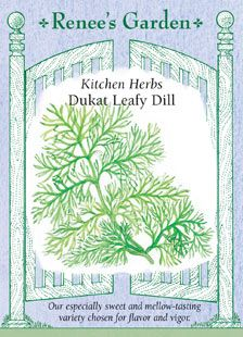 Dukat Leafy Dill. First seeds started 5/12/12. I've already planted some starter plants. And have some volunteers in the pots already from last year's dill! But I'm going to try growing from seed planted a few weeks apart to extend the season. I love dill on vegetables, potatoes, egg dishes, cheese dishes, and fish. Especially fish. One of my favorite herbs.