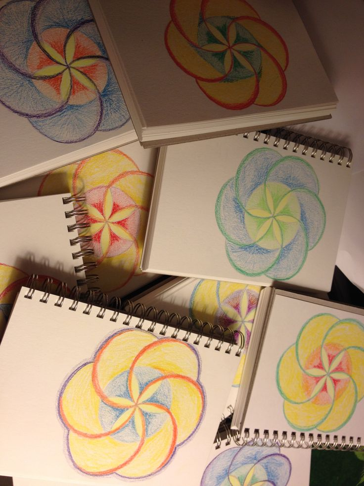 Age 12 ~ Geometric Drawing ~ Six Division of Circle ~ decorated sketch book covers