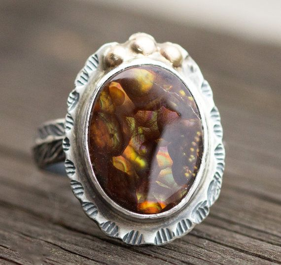 Fire Agate Sterling Ring  14k Gold and Sterling by PPennee on Etsy