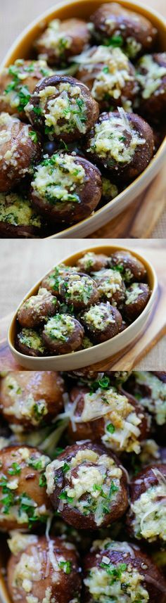 Garlic Parmesan Roasted Mushrooms – buttery and delicious oven roasted mushrooms loaded with garlic and Parmesan cheese. Takes 8 mins prep | rasamalaysia.com