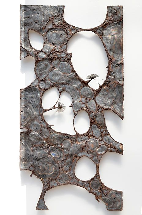 stefan gahr 2014 240x120cm burnt stainless steel rusted welds abstract metal wall - Metal Wall Designs