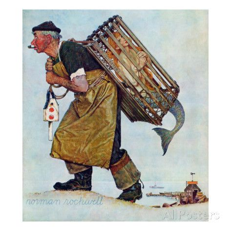 """Mermaid"" or ""Lobsterman"", August 20,1955 Giclee Print by Norman Rockwell at AllPosters.com"