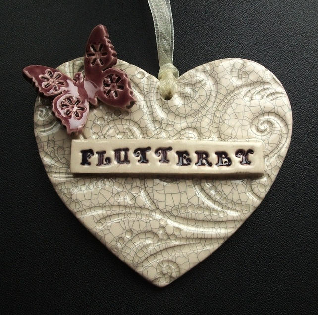 Ceramic butterfly heart Flutterby hanging decoration £10.00