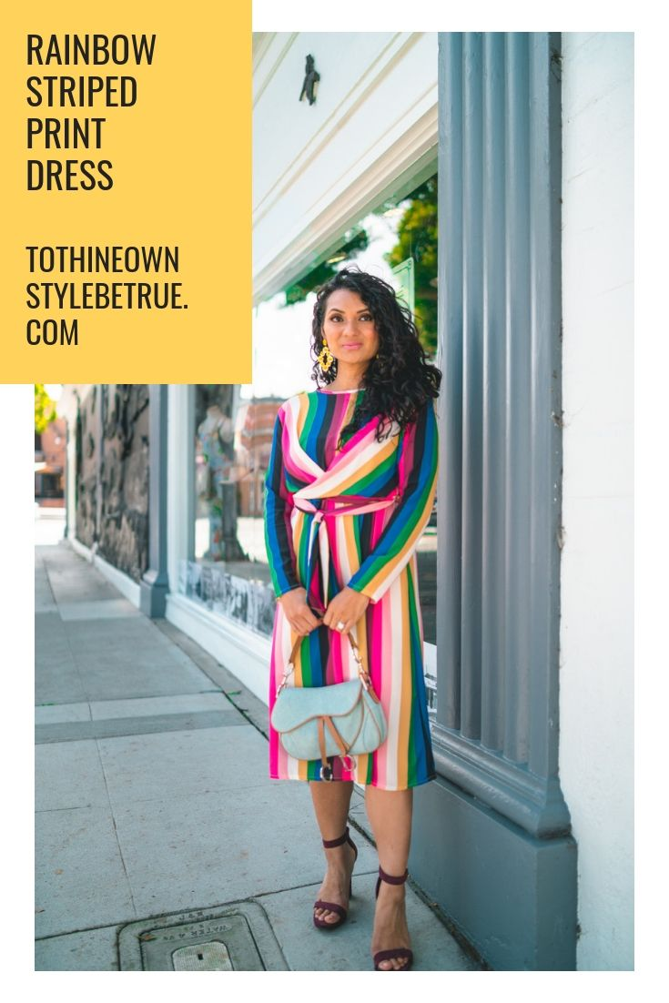 0ca68134fd5b Not sure how to style a rainbow printed dress? Orange County Blogger Debbie  Savage is