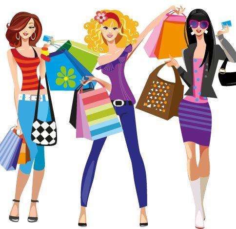 compras de moda, imagen vectorial.