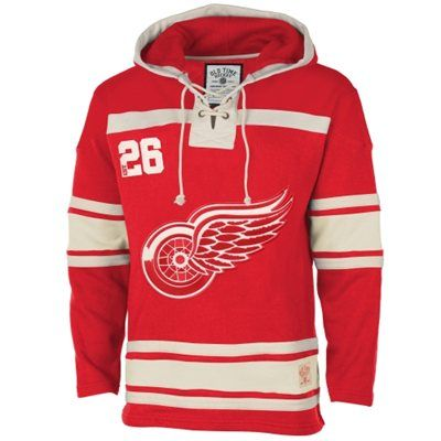 Men's Detroit Red Wings Old Time Hockey Red Home Lace Heavyweight Hoodie