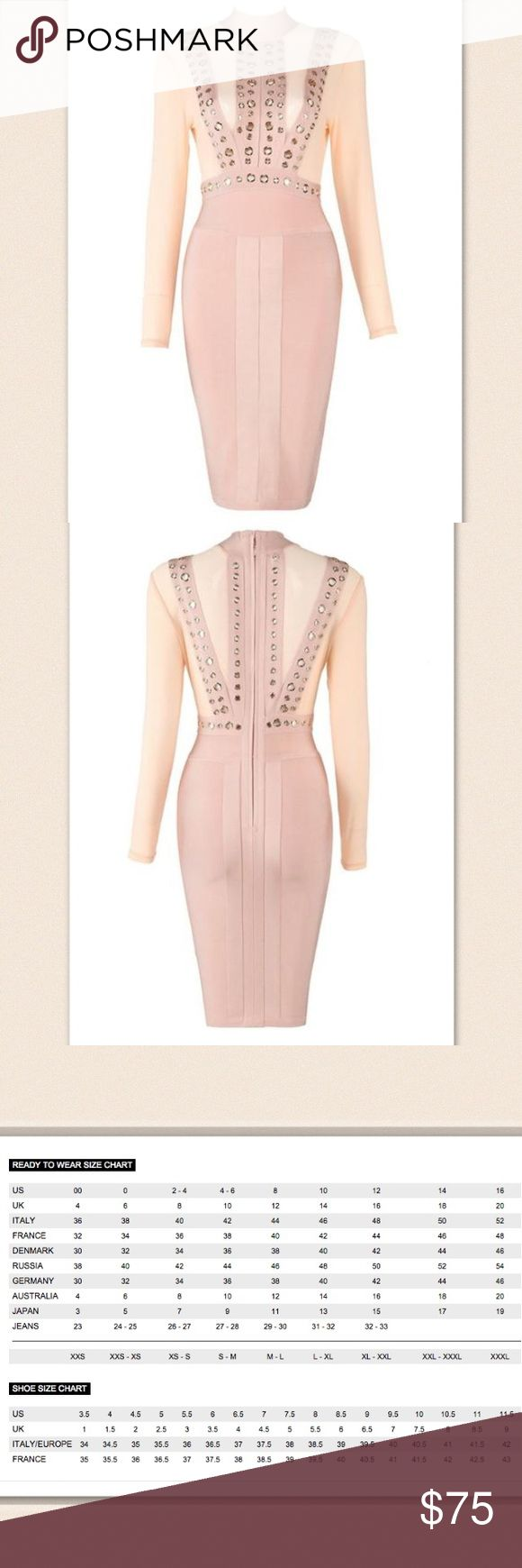 Pink/Cream Cassie Bandage Dress NWT Retail, no flaws, check closet for light blue color Bae Sik Dresses Long Sleeve