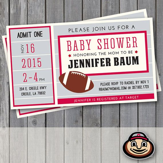 THIS LISTING IS FOR A PERSONALIZED INVITATION DESIGN – digital file.  This invitation is perfect for an Ohio State football or Buckeye sports themed