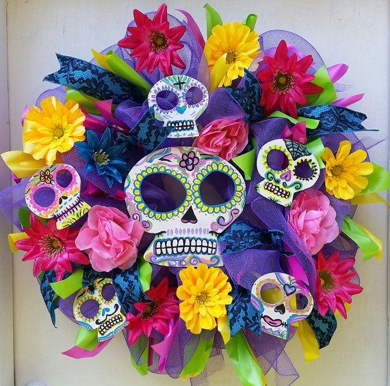 Dia de los Muertos Day Of The Dead ,Sugar Skull Colorful Wreath Skull Wreath, Hand Painted Sugar Skulls, Unique Skull Wreath ,Mexican Wreath