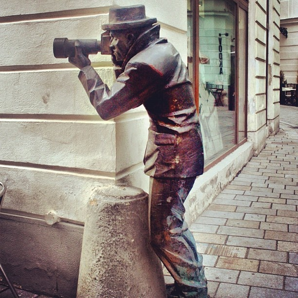 Paparazzi statue in Bratislava, Slovakia