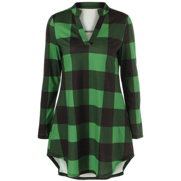 Plaid Split Neck T Shirt ($14) ❤ liked on Polyvore featuring tops, t-shirts, shirts, dresses, plaid, rosegal, tartan t shirt, split neck top, green plaid shirt and plaid shirts