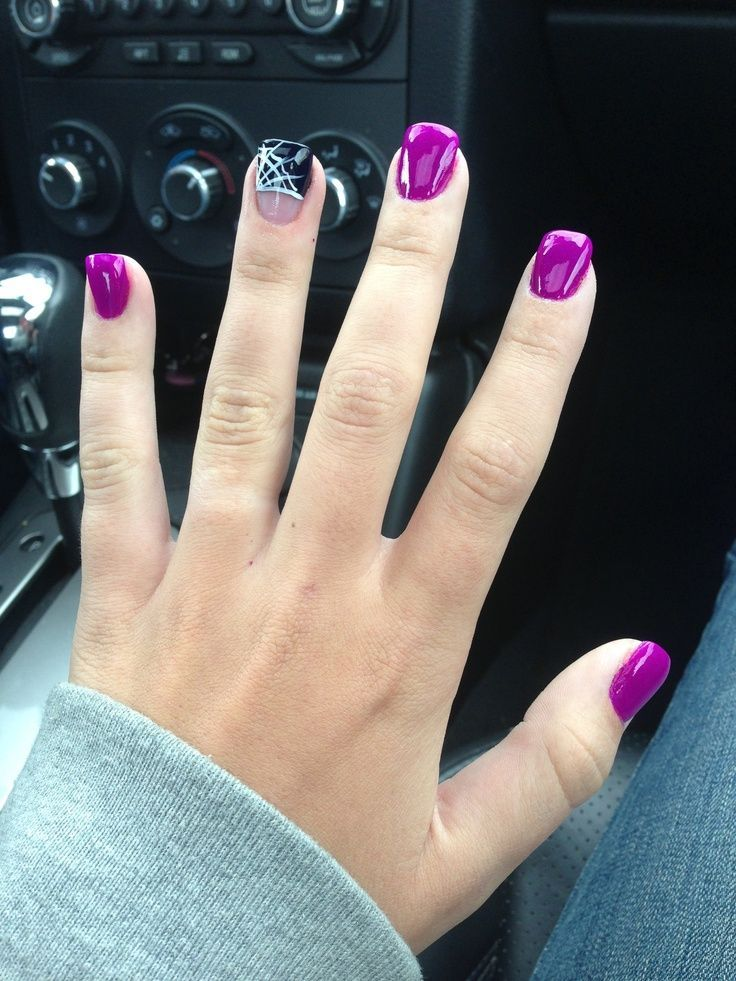 Beautiful purple polish and spider web nail