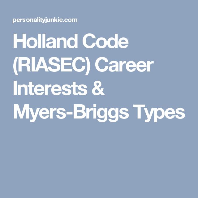 Holland Code (RIASEC) Career Interests & Myers-Briggs Types