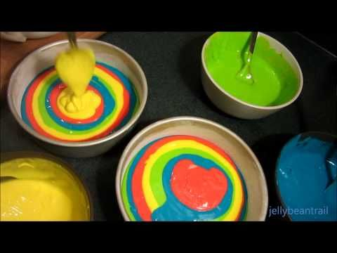 ▶ How to make a cake with a tie dye or rainbow effect - Mario cake and cupcake pics too!! - YouTube
