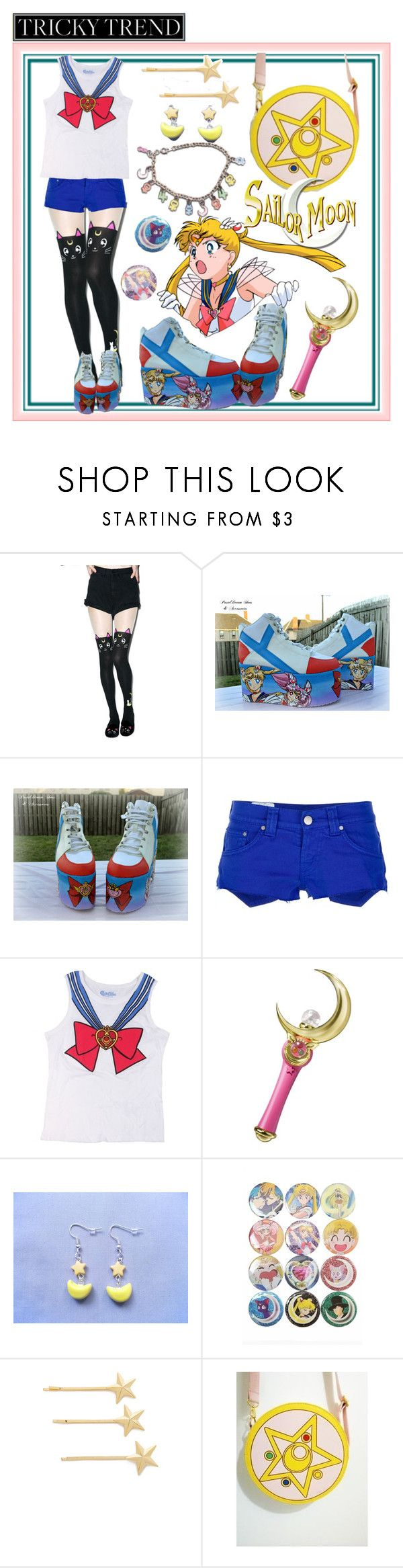 """""""☆~Moon Shoes~☆"""" by kawaiicreeper ❤ liked on Polyvore featuring Spree Picky, Dondup, Bandai, Dauphines of New York, anime, sailormoon and platformsneakers"""
