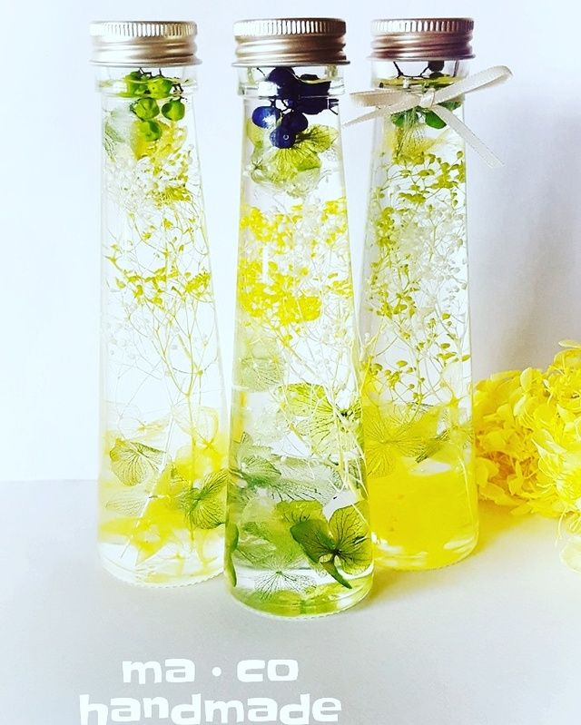 お花のハーバリウム ライトグリーン スリムミニ