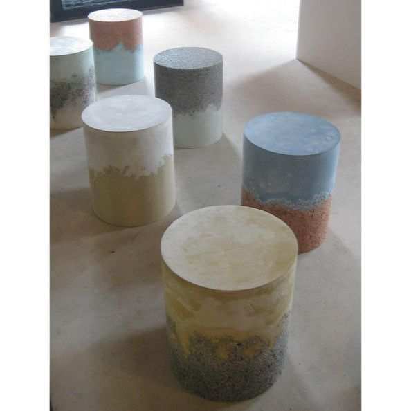 amma studio indoor outdoor stools made with resin-sealed salt and concrete