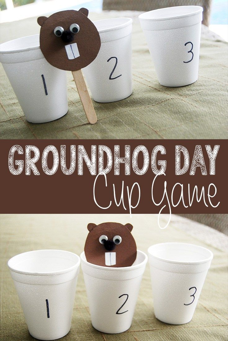 This is an easy and fun groundhog cup game to play on Groundhog Day! Perfect for toddlers and kids!