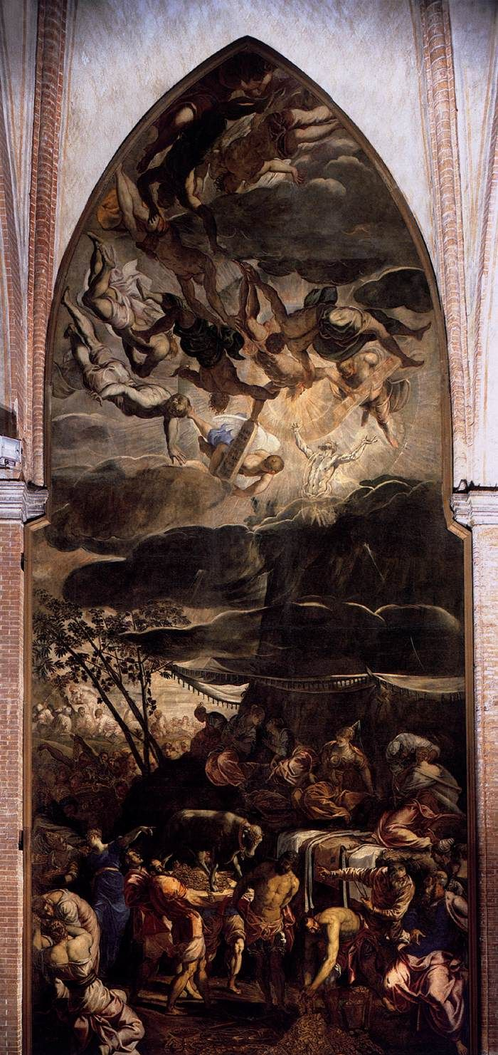 TINTORETTO Moses Receiving the Tables of the Law 1560-62 Oil on canvas, 1450 x 590 cm Madonna dell'Orto, Venice