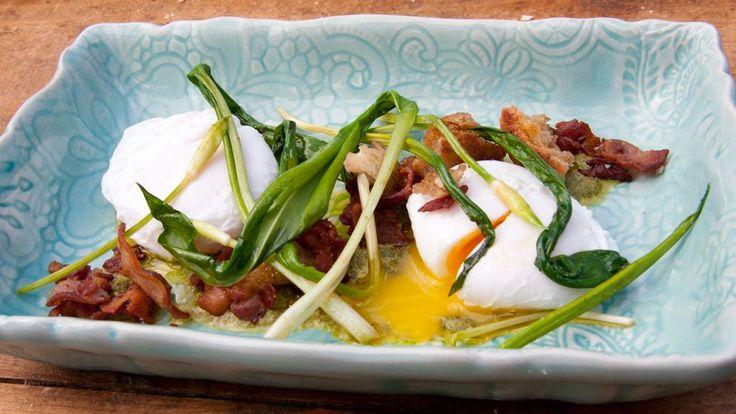 Pocherade ägg med ramslök