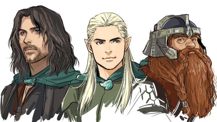 """Aragorn, Legolas and Gimli from """"Lord of the Rings"""" - Art by dakkun39.tumblr.com"""