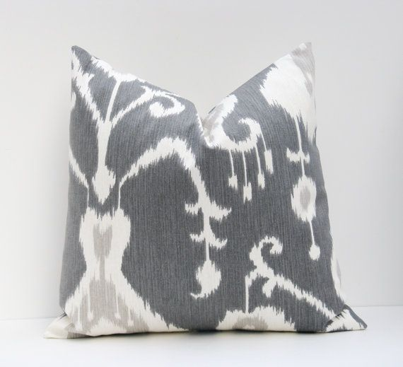 24x24  Euro Shams.Euro Pillow Cover.Ikat Pillow.Dark Gray Pillow.Grey. Gray and White 24x24.Floor Cushions.Home Decor Printed fabric on both sides