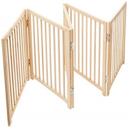 Four Paws 5 Panel Free Standing Walk Over Wooden Dog Gate, 48-110W by 17 H - Walmart.com