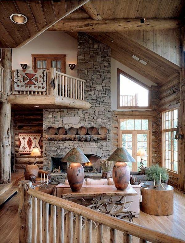 Wohnzimmer rustikal aus holz gemacht einrichtungsideen for Rustikal modern