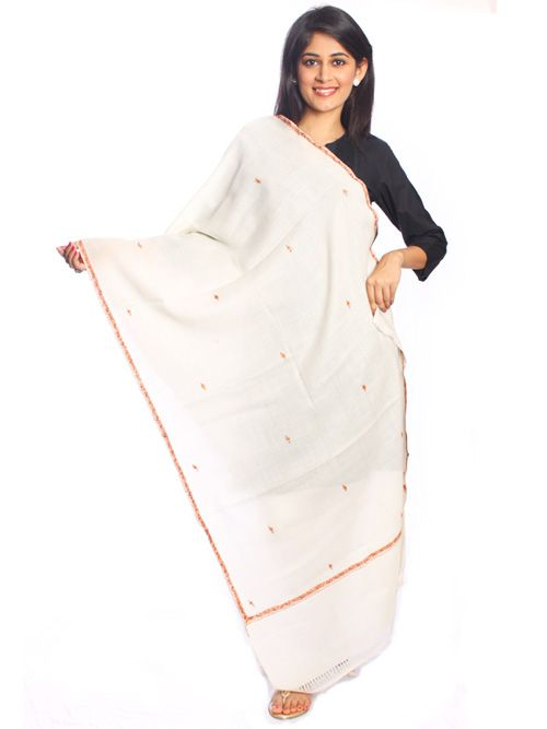White Woolen Shawl-A fabukous pick to suit your style this winter. Designed in Pure wool.