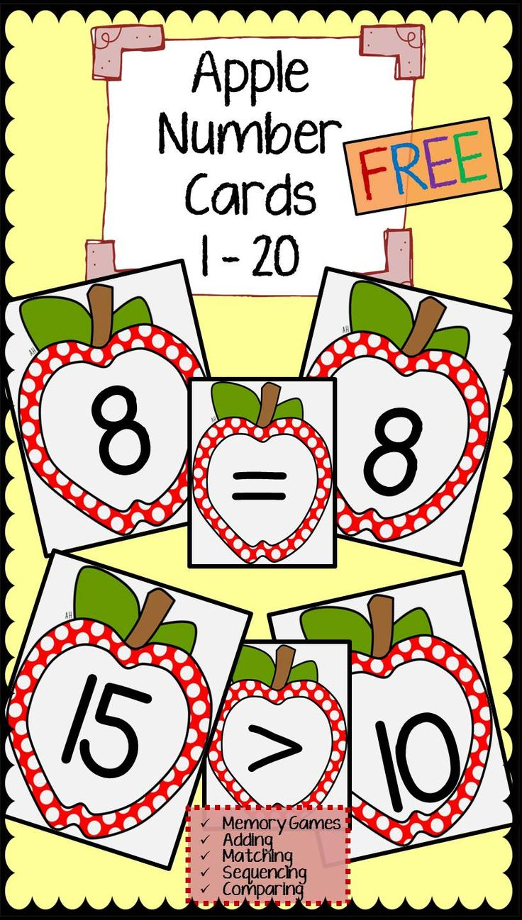 FREE Apple Number Cards. This freebie includes apple number cards 1-20 and the <, >, and = symbols.