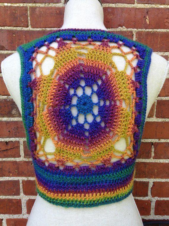 Crochet Pattern Cropped Sleeveless Sweater Shrug Vest Lace Up
