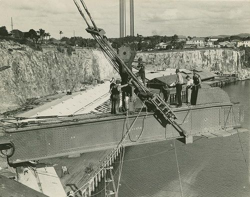Early stages of the Story Bridge construction, Brisbane