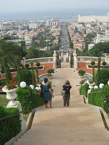 Standing on the terraces on Mt. Carmel in the Baha'i Gardens, my wife and daughter are gazing down the main street of Haifa, across the Bay towards Akka and the Shrine of Baha'u'llah, the final resting place of the Prophet/Founder of the Baha'i Faith (1817-1892).