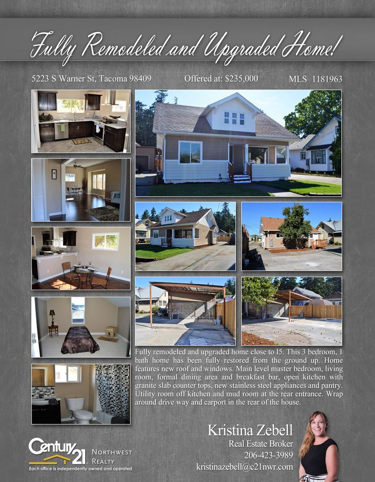 PRICE CHANGE  Fully remodeled and upgraded home close to I5. This 3 bedroom, 1 bath home has been fully restored from the ground up. Home features new roof and windows  Contact Kristina Zebell @ (206) 423-3989 MLS # 1181963 http://5223swarnerst.c21.com/