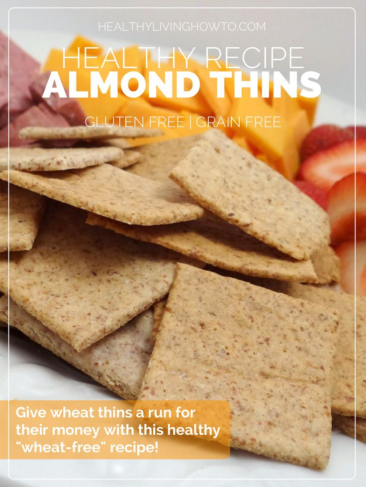 Almond Thins: 3 Dozen Ingredients- 3/4 c. (3 oz.) Almond Flour, 1 Egg White 1/8 tsp. Garlic Powder, 1/8 tsp. Onion Powder, 3/8 tsp. Celtic Sea Salt, Directions: Mix well. roll out in between two parchment papers until 1/8 inch thick. Score with a pizza cutter into squares. Bake at 325º for 12-15 minutes, or until golden brown.