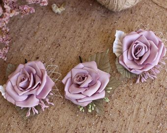 Roses hair bobby pin,dusty Rose Hair Piece,Blush wedding Hair Flower Rose,light purple flower bridal hair bobby pin,Woman girl Rose hair pin