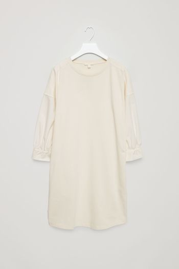 COS image 2 of Cotton jersey and poplin dress in Off-white