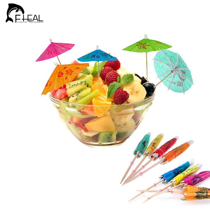 FHEAL Cute Umbrella-Shaped Bamboo Sticks Fruit Forks Cake Decoration Tools Snack Forks Cocktail Table Decor Fruit Fork 50pcs/set
