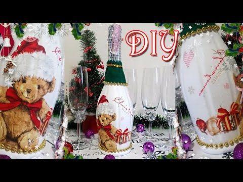 Как украсить шампанское на новый год | how to decorate the champagne, champagne DIY - #diy - YouTube