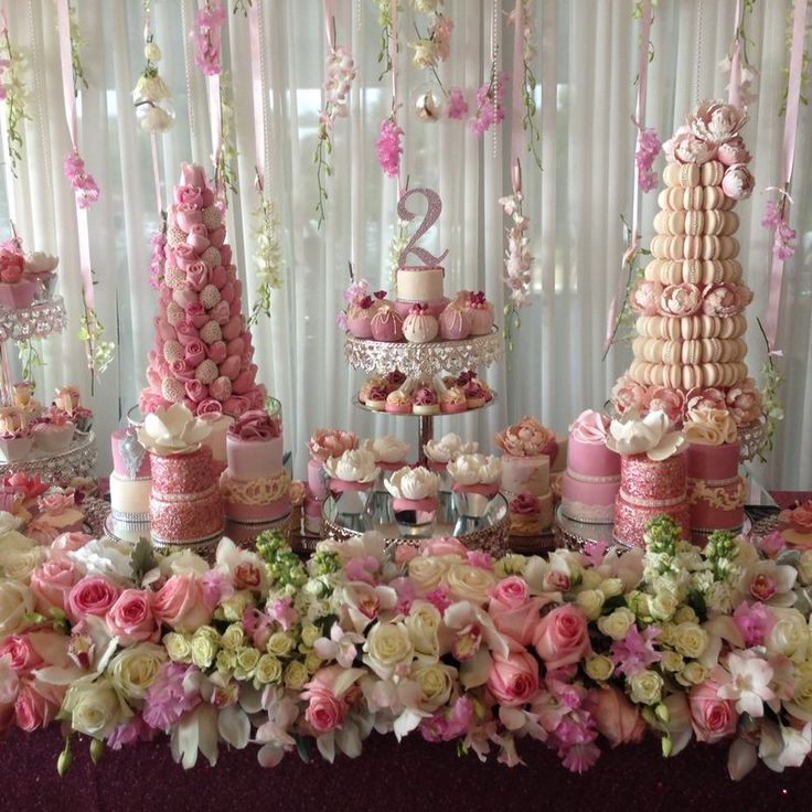 We can't stop swooning over this absolutely gorgeous dessert table by Strawberry & Co. Decked in pretty floral arrangements this dessert table is styled to perfection. VENDORS: Macaron Tower an...
