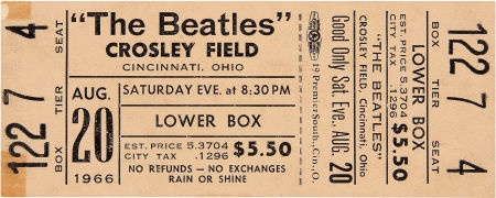 Beatles Concert Crosley Field Cincinnati 1966