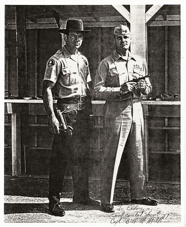 San Diego Sheriff's Deputy Elden Carl (left) and Marine Captain William McMillan (right). San Diego Sheriffs Department shooting event, 1964.