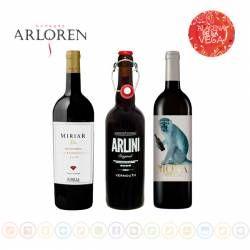 Lote de vinos y vermouth de Bodega Arloren.  Incluyen vermouth Arlini, el vino joven LA Mona Strell y el reserva Miriar Rubí 2009. Todos los vinos de uva 100% monastrell y con D.O. Jumilla (Murcia). www.alacenadelavega.com #wine #winelover #vino #jumilla #vinosdemurcia