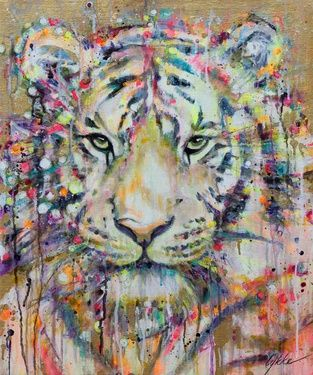 "Saatchi+Art+Artist+Lykke+Steenbach+Josephsen;+Printmaking,+""Tiger+-+hand+colored+art+print+on+canvas""+#art"