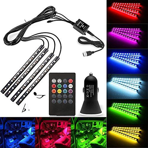ABelle USB LED Strip Lights Car Interior Music Sync Underdash Lighting Kit RGB Multicolor LED Tape Lights With 20 Keys Wireless Remote Control for Truck Van Lorry Jeep Motorcycle(4x 8.66in). For product info go to:  https://www.caraccessoriesonlinemarket.com/abelle-usb-led-strip-lights-car-interior-music-sync-underdash-lighting-kit-rgb-multicolor-led-tape-lights-with-20-keys-wireless-remote-control-for-truck-van-lorry-jeep-motorcycle4x-8-66in/