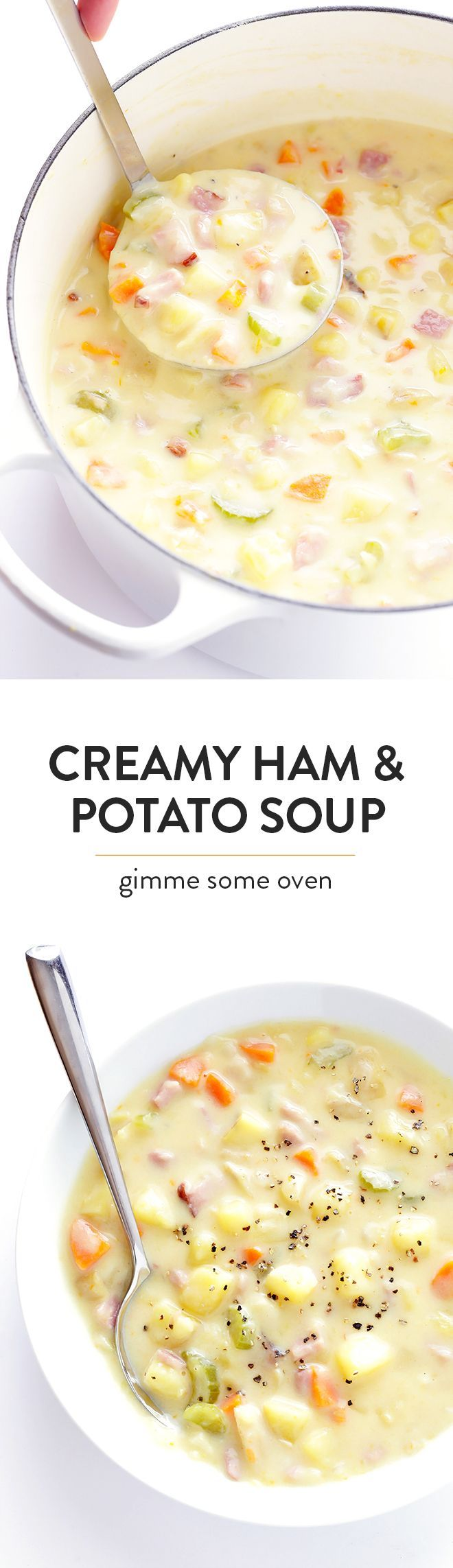 This Creamy Ham and Potato Soup recipe is easy to make, ready to go in about 30 minutes, and SO flavorful and creamy and delicious!