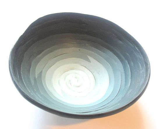 Steel Blue to White Ombre Bowl - Jewellery Bowl - Decorative