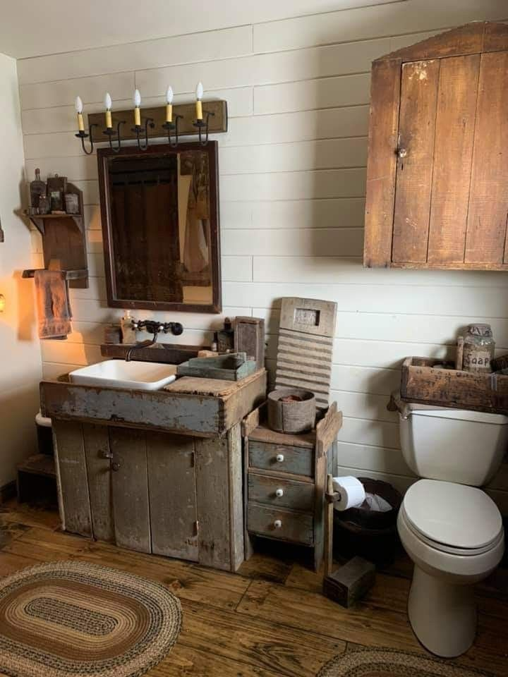 Pin By Linda Kindle On Bathrooms Primitive Bathrooms Primitive Decorating Country Rustic Bathrooms