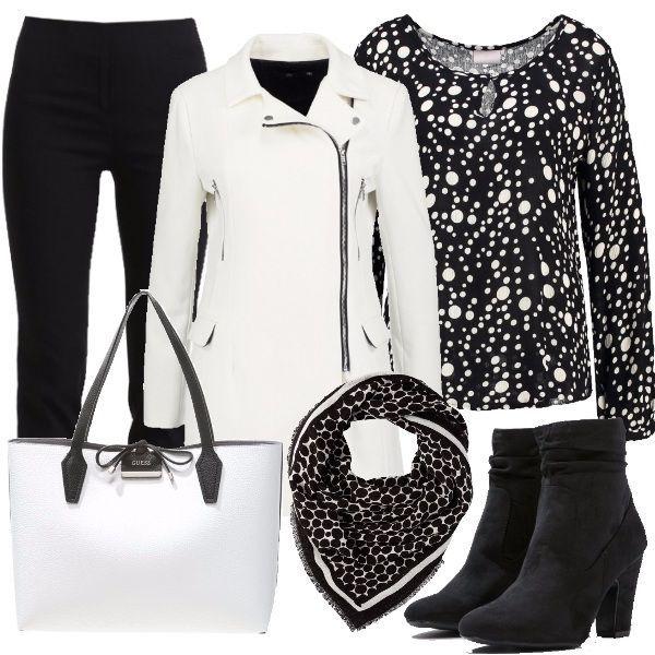 Vestito a pois nero e bianco zia